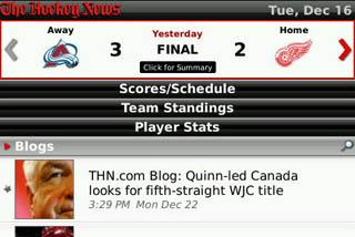 The Hockey News for BlackBerry