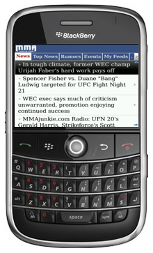 MMAJunkie App for BlackBerry