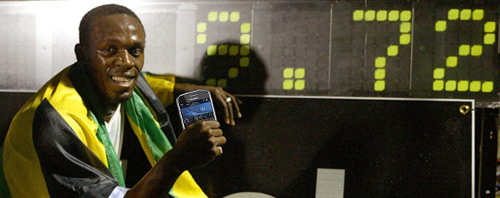 Usain Bolt and his BlackBerry Bold