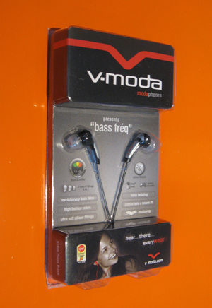 the v-moda in its package