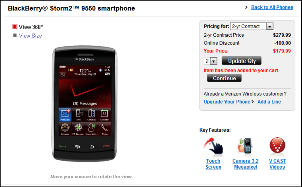 BlackBerry Storm2 Now Live On Verizon Website BOGO Applicable!