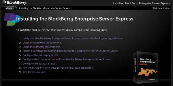 BlackBerry Enterprise Server Express (BESX) Installation Video Now Online