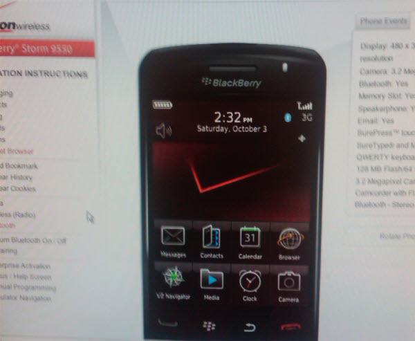 BlackBerry Storm 9550 Emulator Arrives In Verizon Systems