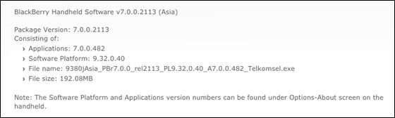 Official OS 7.0.0.482 for the BlackBerry Curve 9380 from Telkomsel