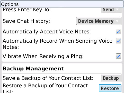 BlackBerry Messenger Auto Record Voice Notes