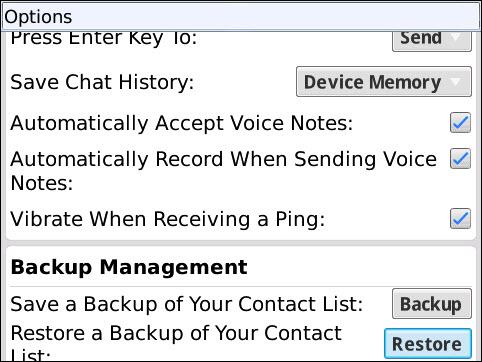 BlackBerry Messenger Auto Record Voice Notes