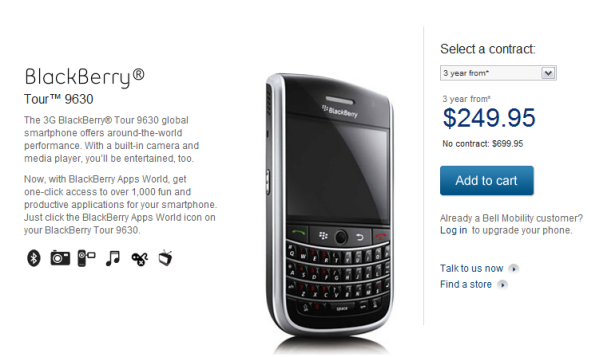 Bell Online Sales For BlackBerry Tour Go Live!!