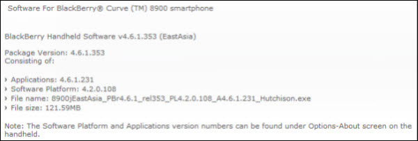 Official OS 4.6.1.231 for the BlackBerry Curve 8900 from Hutchison