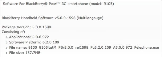 BlackBerry Pearl 3G Official OS