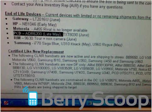 Verizon BlackBerry Tour 9630 On It's Way Out