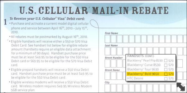 US Cellular Outs BlackBerry Bold 9650 Via Mail In Rebate Form