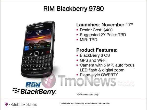 T-Mobile BlackBerry Bold 9780
