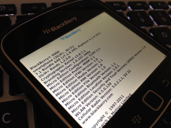 Leaked: OS 7.1.0.205 for the BlackBerry Bold 9900