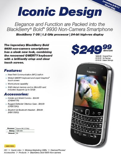 BlackBerry Bold 9930 non-camera version launches on Sprint September 9th