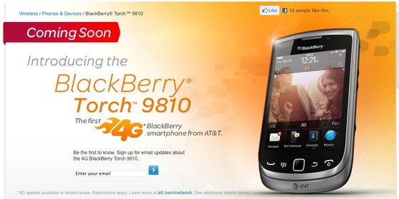BlackBerry Torch 9810 'coming soon' page arrives on the AT&T website