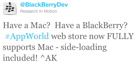 BlackBerry App World web store now fully supports Mac