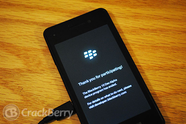 "BlackBerry 10 Dev Alpha device displaying ""device program has ended"" error?"