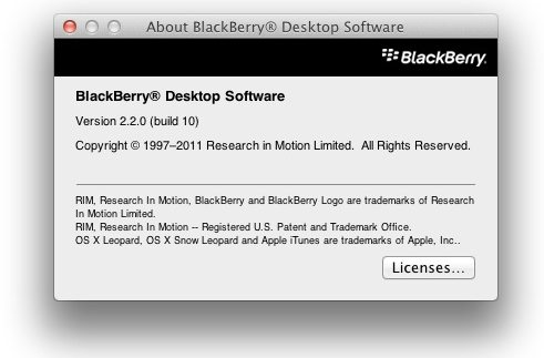 BlackBerry Desktop Software For Mac v2.2.0