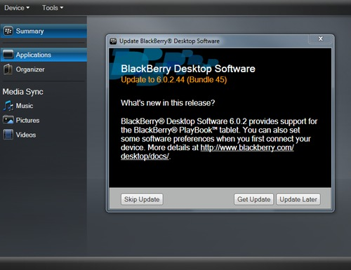 BlackBerry Desktop Manager updated to v6.0.2.44