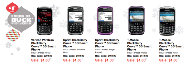 Best Buy BlackBerry Curve 3G Sale
