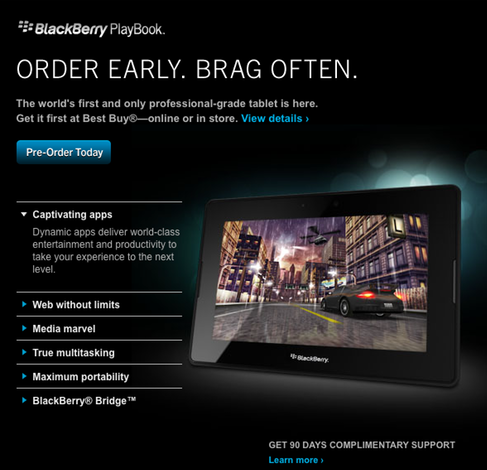 Best Buy U.S now taking pre-orders for the BlackBerry PlayBook