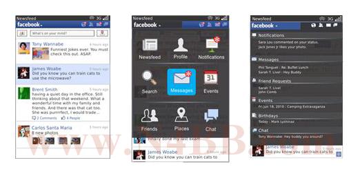 Facebook for BlackBerry v2.0 images leak out