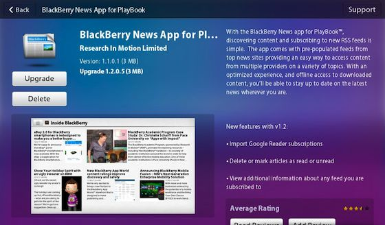 BlackBerry News for PlayBook