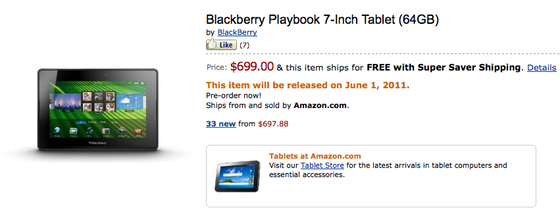 BlackBerry PlayBook On Amazon
