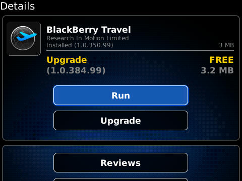 BlackBerry Travel updated to v1.0.384.99