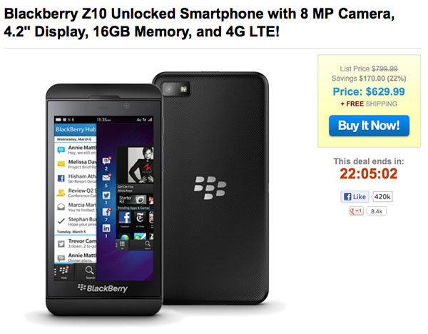 1 Sale-A-Day offering unlocked BlackBerry Z10's for $630