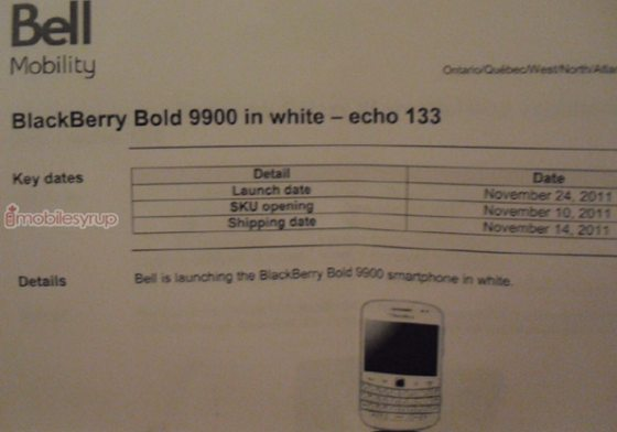 Bell BlackBerry Bold 9900 coming in white