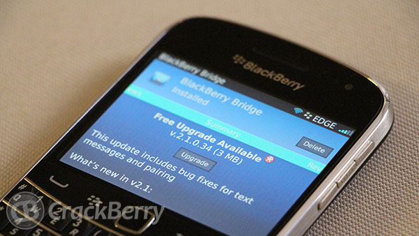 BlackBerry Bridge updated to v2.1.0.34