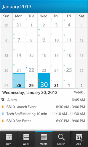 BlackBerry 10 Calendar