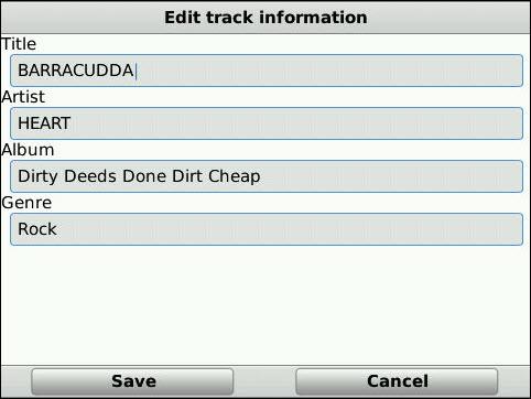 Edit Detailed Track Information