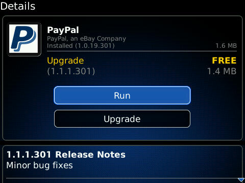 PayPal for BlackBerry updated to v1.1.1.301 - Minor bug fixes included