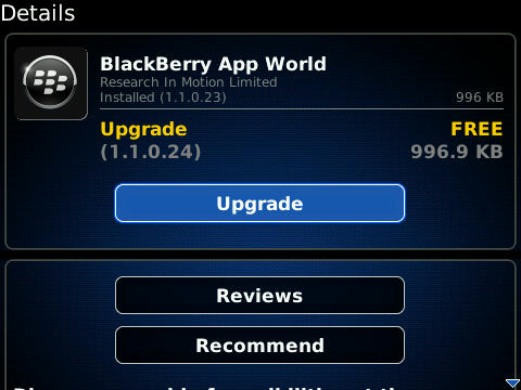 BlackBerry App World Updated To Version 1.1.0.24