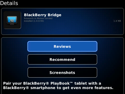 BlackBerry Bridge updated to v1.0.0.93