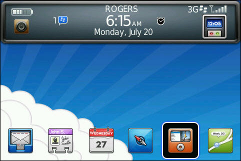 Free SodaBerry Bottom Dock  With Today Plus Theme For BlackBerry Bold