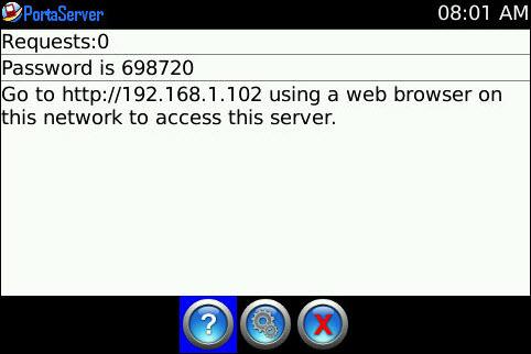 PortaServer - Mini Web Server For Your WiFi Capable Blackberry