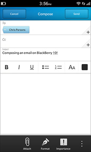 Composing an email