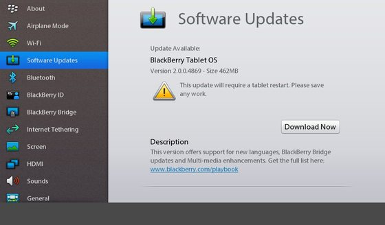 BlackBerry PlayBook OS 2.0 developer beta updated to v2.0.0.4869