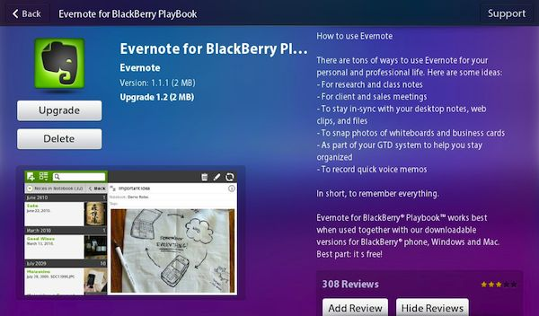Evernote for PlayBook