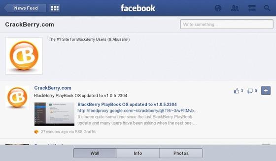 Facebook for BlackBerry PlayBook