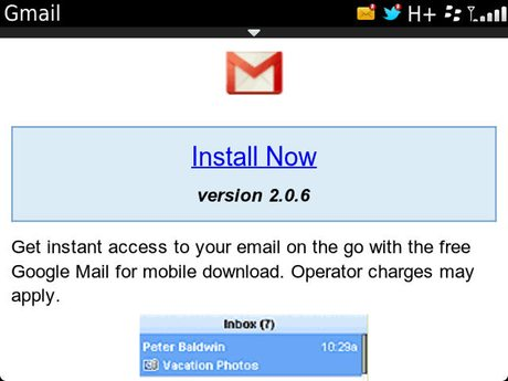 GMail for BlackBerry