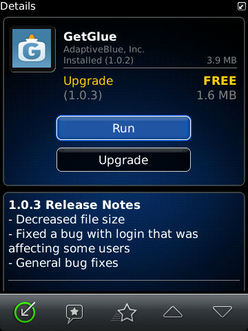 GetGlue for BlackBerry updated to v1.03 - Reduces file size and corrects login issues