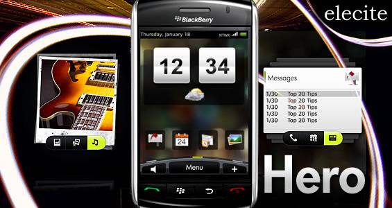 "HTC Sense UI ""Hero"" Premium BlackBerry Theme From Elecite"