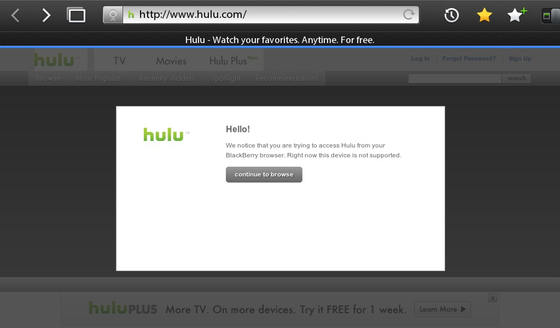Hulu now blocked on the BackBerry PlayBook, big media strikes again