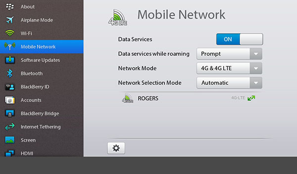 4G LTE BlackBerry PlayBook Settings