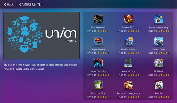 Union games for the BlackBerry PlayBook