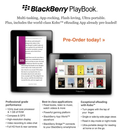 Chapters puts the BlackBerry PlayBook up for pre-order